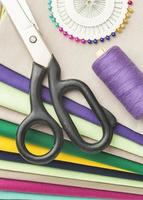 Sewing items and fabric photo