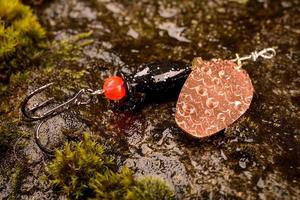 Señuelo de cuchara de pesca en piedra mojada con musgo