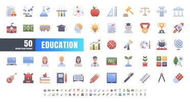 Vector of 50 Education and School Subject. Flat Gradient Color Icon Set. 64x64 and 256x256 Pixel.