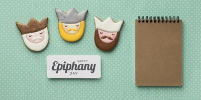 Epiphany Day cookies with notepad photo