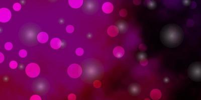 Dark Pink vector template with circles, stars.