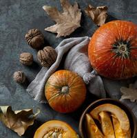 Top view of pumpkins and nuts arrangement