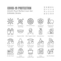 Simple Set of Covid-19 Protection Line Outline Icons. such Icons as Mask, Gloves, Coronavirus Prevention, Hygienic, Avoid Close Contact, Social Distancing etc. 64x64 Pixel Perfect. Editable Stroke. vector