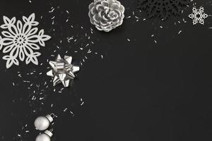 Silver Christmas decor on black