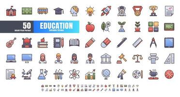 Vector of 50 Education and School Subject. Filled Gradient Color Line Outline Icon Set. 64x64 and 256x256 Pixel Perfect Editable Stroke.