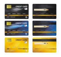 Conjunto de tarjetas de crédito aislado sobre fondo blanco. foto