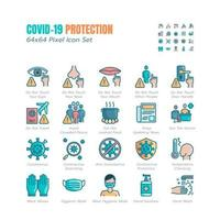 Simple Set of Covid-19 Protection Flat Icons. Icons as Guidance Protective Measures, Coronavirus Prevention, Hygienic Healthcare, Solution, Awareness, Hands Wash, Wear Face Mask etc. 64x64 Pixel vector