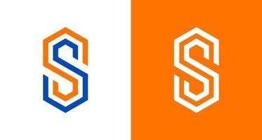 Modern letter SS logo in a hexagon shape, geometric SS monogram logo template vector