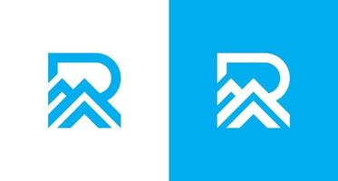 Modern letter R with Ridge element logo, simple R initial and mountain logo, home Roof logo vector