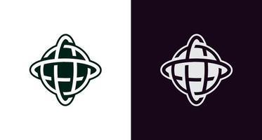 abstract and classic globe logo icon, circular rotation logo, simple and elegant earth rotation logo vector