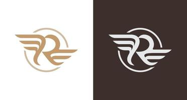 classy letter R logo with wings element, rounded R monogram, flying letter R logo vector template