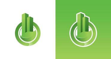 green building logo with leaves element, organic building logo, environmental resident logo vector