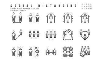 Simple Set of Social Distancing, Coronavirus Disease 2019 Covid-19 Line Icons such Icons as Stay Home, Quarantine, Work from Home, Avoid Crowded Place. 64x64 Pixel Perfect Editable Stroke Vector.