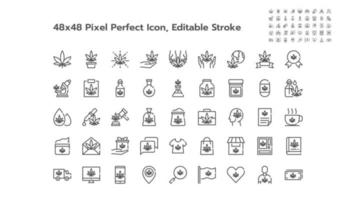 Simple Set of Marijuana or Cannabis Line Outline Icons. Such Icons as Medical, Leaf, Oil, Extract, Sell, Shop, Free, Medicine etc. 48x48 Pixel Perfect. Editable Stroke. vector