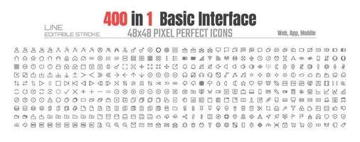 48x48 píxeles interfaz de usuario perfecta básica simple conjunto de iconos de líneas finas. perfil de usuario de personas, mensaje, archivo de documento, llamada, música, cámara, flecha, chat, botón, tienda, hogar, aplicación, web, etc. vector