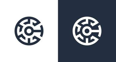 Creative letter C initial logo with abstract crypto element vector