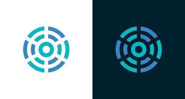 circular abstract logo design with connection, wifi, maze element vector