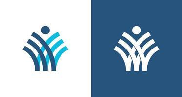 Logotipo de la letra w abstracto corporativo moderno con elemento de mano de personas, logotipo de alas simples vector