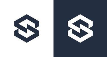 Logotipo moderno de la letra s hexagonal en forma geométrica, logotipo de monograma de letra ss simple en bloque vector