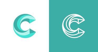 Logotipo moderno y mínimo de la letra c en capas, plantilla de vector de logotipo de monograma c inicial simple
