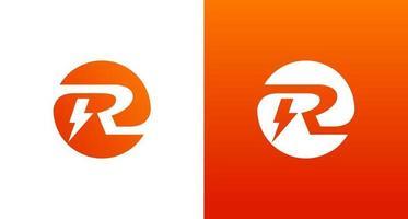 Diseño de logotipo r eléctrico con elemento de chispa y voltaje, logotipo inicial del círculo r vector