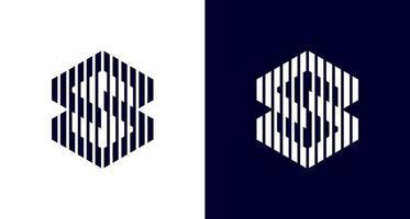 modern hexagonal letter S logo in geometric shape, simple blocky letter SS monogram logo vector