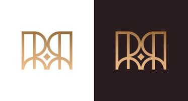 Elegante logotipo de letra rr con elemento estrella, monograma inicial de lujo rr, plantilla de vector de logotipo