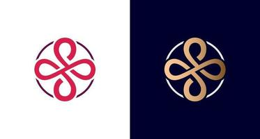 elegant and luxurious infinity logo, cross symbol, letter S in circle border emblem, vector. vector
