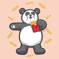 cute panda hold fries animal illustration vector