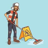 cleaning boy cleaning floor with the mop smiling cartoon character illustration vector