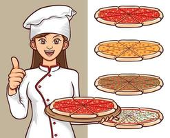 italian pizza foods with women chef character illustration vector