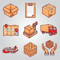 courrier shipping delivery icon set vector