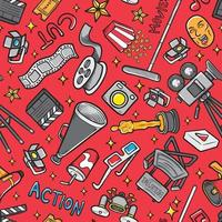 doodle movie icon set pattern seamless background vector
