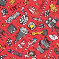 Doodle película icono conjunto de patrones sin fisuras de fondo vector