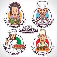 Colección de personajes lindos para logotipos de la industria alimentaria. vector
