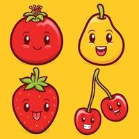 cute fruits character illustration collection vector