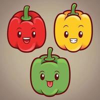 cute paprika vegetables character illustration set vector