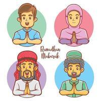 characters of muslim greeting ramadhan mubarak illustration vector