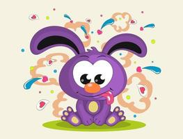 Cute rabbit is sitting, showing tongue. Illustration done in cartoon style isolated on white background. vector
