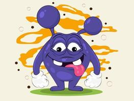 Funny purple monster vector