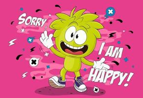 Cartoon cheerful boy. Vector illustration of a smiling boy. Funny character boy. Isolated EPS 10 vector