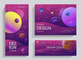Creative design with vibrant gradients shapes vector