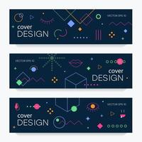 Brochures with memphis design elements vector