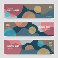 Brochures with circles and wavy background vector