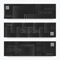 Flyers with abstract linear design vector