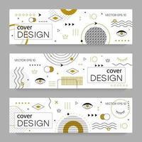 folletos con elementos de diseño de memphis. vector