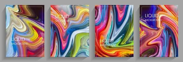 Set of backgrounds in liquid style vector