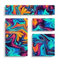 Mixture of acrylic paints. Modern artwork. Trendy design. Marble effect painting. vector