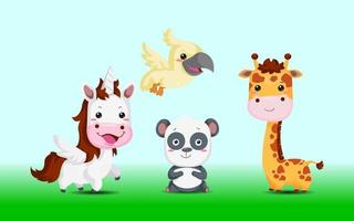 animal Illustration Wild life panda unicorn set vector