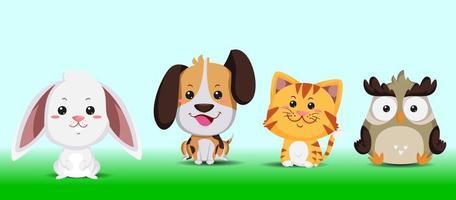 Illustration cute animal bunny, dog, tiger, and owl set vector